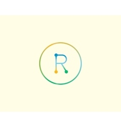 Abstract letter R logo design template Colorful vector