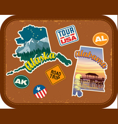 Alaska alabama travel stickers vector