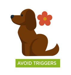 allergy trigger avoid dogs fur and flowers asthma vector image