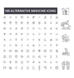 alternative medicine editable line icons 100 vector image