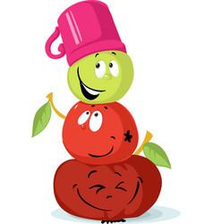 Apple snowman character cute fruit cartoon vector