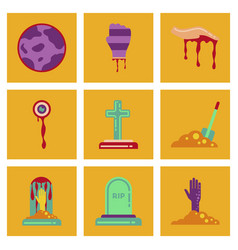 Assembly flat icons halloween zombie hand grave vector