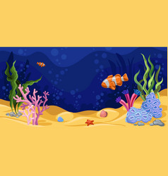 beautiful underwater scene with seaweed marine vector image