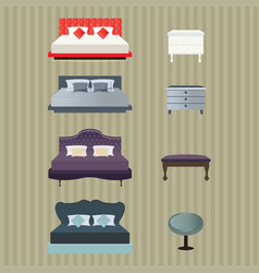 Bedroom furniture design vector