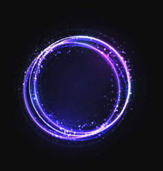 Blue gold circle light effect with round glowing vector