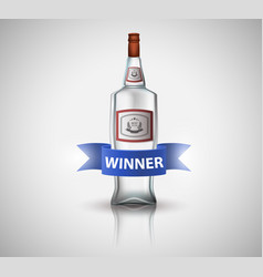 bottle of vodka with blue ribbon isolated on vector image