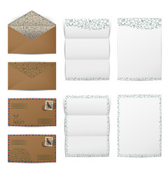 Brown paper envelopes and blank white letter paper vector