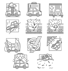 Car insurance flat line icons vector image