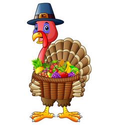 Cartoon turkey holding basket full of fruits and v vector