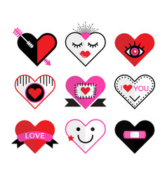 ccute pink and red heart and love icon emblems set vector image