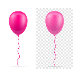 Celebratory pink transparent balloons pumped vector