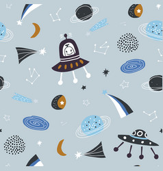 Childish seamless pattern with aliens ufo vector