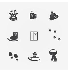 Christmas icons black sign vector