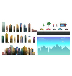 city constructor skyscrapers houses stores vector image