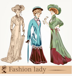 collection of fashion vintage ladies vector image
