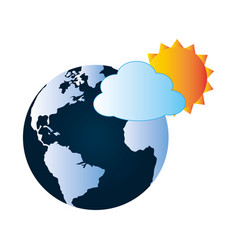 colorful earth world map with cloud and sun vector image