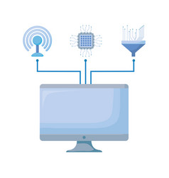 computer monitor with connection icons vector image
