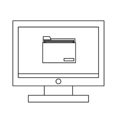 computer with folder vector image