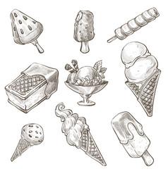 dessert assortment ice cream types monochrome vector image