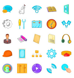 engineer icons set cartoon style vector image