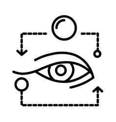 eye isolated line icon ophthalmology and eyesight vector image