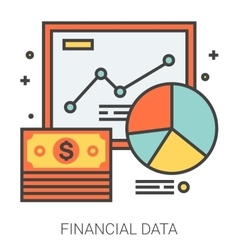 Financial data line icons vector image