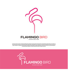 flamingo bird logo template design vector image