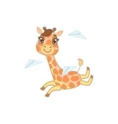 Giraffe Playing With Paper Planes vector