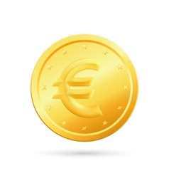Gold coin with euro sign vector