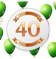 Golden number forty years anniversary celebration vector