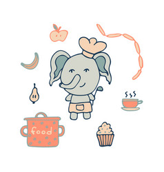 hand-drawn elephant the cook with a serving spoon vector image