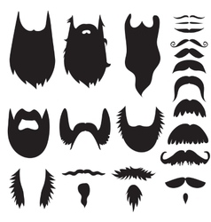 Hand drawn mustaches and beards set vector