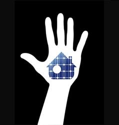 Hand with solar house vector