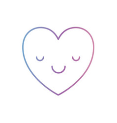 Heart kawaii in calm expression in degraded blue vector