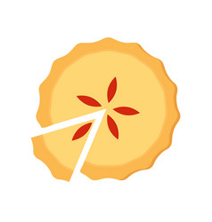 Homemade sliced pie with fruit filling vector