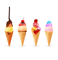 icecream cone assortment composition vector image