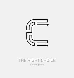 Letter C Line art rebus concept logotype icon vector image