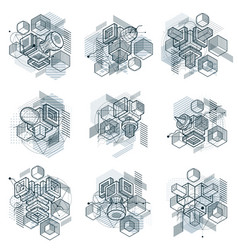 lines and shapes abstract isometric 3d vector image
