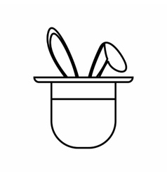 Magician hat with rabbit icon outline style vector image