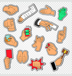 male hands signs stickers man arm gesturing vector image