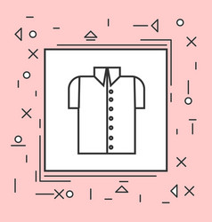 male shirt icon thin line in pink frame vector image