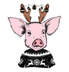 Merry christmas 2019 year of pig greeting card vector