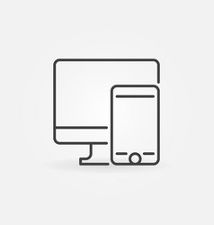 mobile phone with pc outline icon concept vector image
