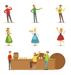 oktoberfest beer festival scenes with people in vector image