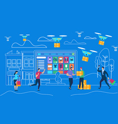 online order for delivery goods drones vector image