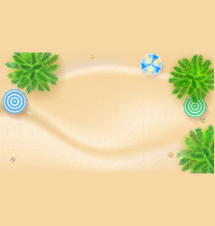 palm trees sun umbrellas tropical landscape with vector image