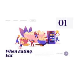 People eating snacks website landing page vector