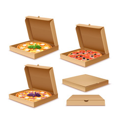 Pizza in boxes vector