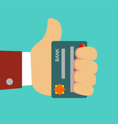 plastic bank cards in hand of businessman vector image