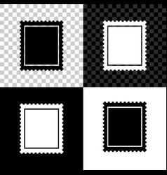 postal stamp icon isolated on black white and vector image
